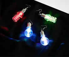 Load image into Gallery viewer, Light Up LED Blinking Bulb Ear Hook Shiny Earrings