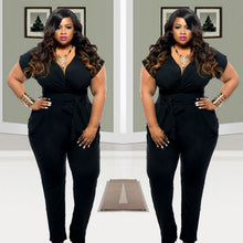 Load image into Gallery viewer, Short Sleeves Loose Black Full Length Jumpsuit - kats closet1