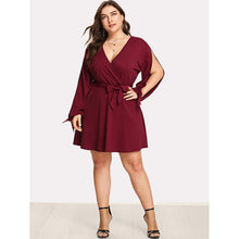 Load image into Gallery viewer, Split Tied Sleeve Surplice Wrap Dress - kats closet1