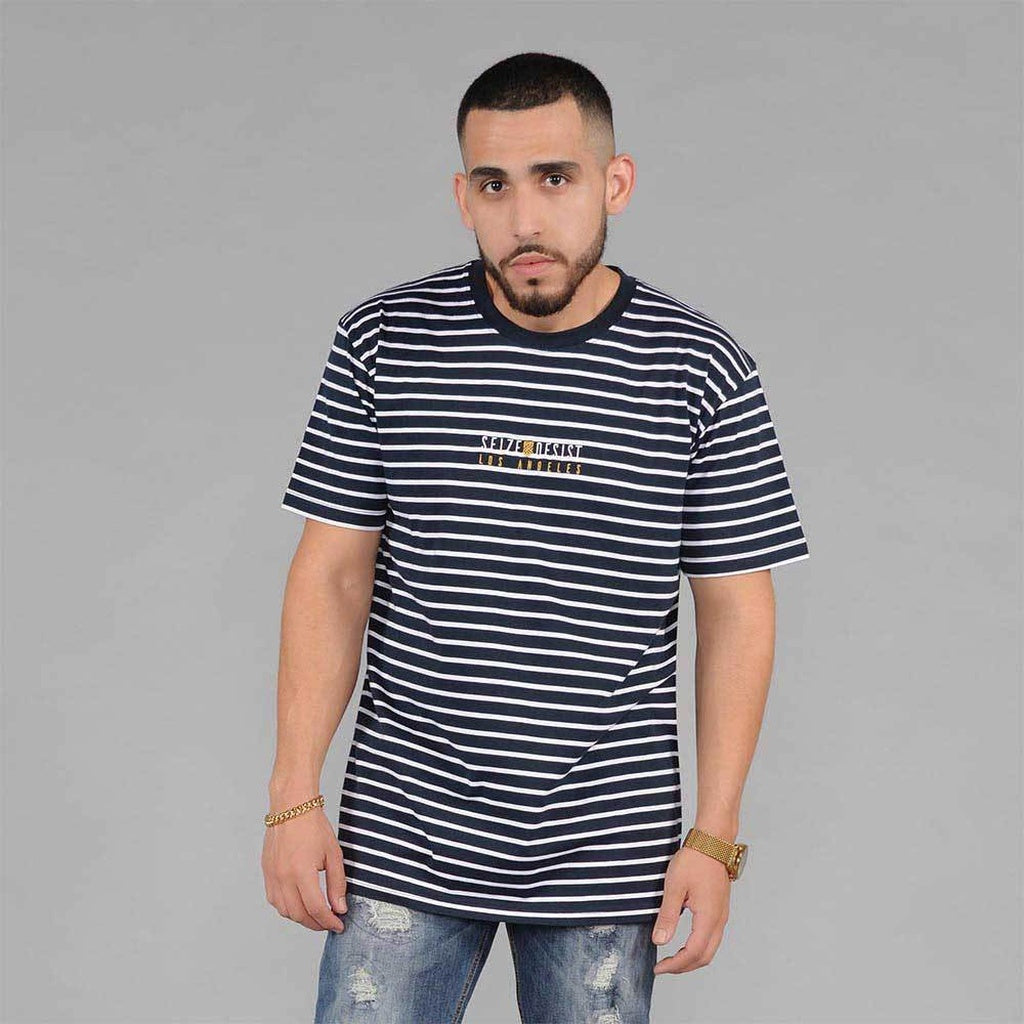 S&D LA Vintage Striped Tee (Navy & White) - kats closet1