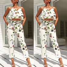 Load image into Gallery viewer, Flounced Spaghetti Strap Floral Tops+Cropped Pantsuit - kats closet1