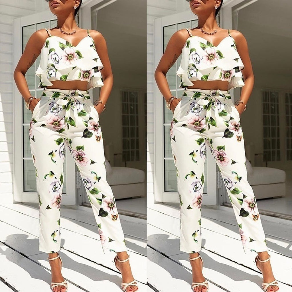 Flounced Spaghetti Strap Floral Tops+Cropped Pantsuit - kats closet1