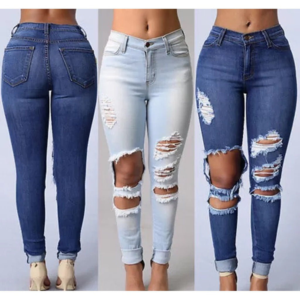 Denim Stretch Distressed Skinny Jeans - kats closet1