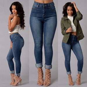 Full Length Mid-Waist Skinny Denim Jeans - kats closet1