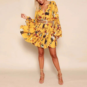 Floral print Casual V-neck long Sleeve loose dress - kats closet1