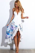 Load image into Gallery viewer, New 2018 Floral Print Spaghetti Strap V-Neck Long Dress Women Summer irregular white robe Maxi Beach Dress - kats closet1