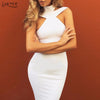 New Bandage Dress 2018 Celebrity Evening Party Dress Vestidos Sexy Off The Shoulder Halter White khaki black Club Women Dresses - kats closet1