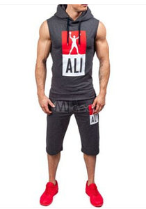 Black/ Gray/ Green Men's Ali Athletic 2 Piece Set