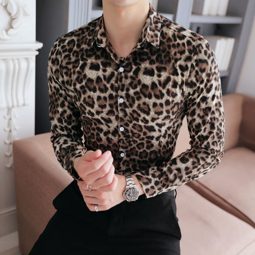Leopard Print Slim Fit Long Sleeve Casual Shirt