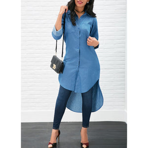 Asymmetric Denim Low high Loose Dress - kats closet1