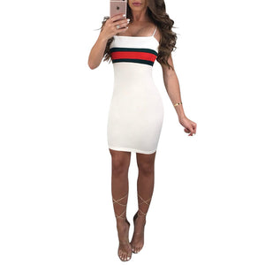 Hot Sexy Casual Dresses Striped Panelled Belt skirt for Women 2018 Slash Neck Womens Corset Middle-skirt Summer Street Style Dresses - kats closet1