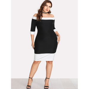 Contrast Trim Bardot Dress - kats closet1
