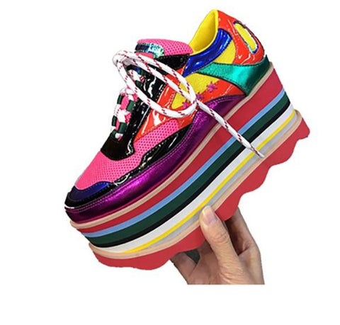 Genuine Leather Rainbow Stripes Round toe Mixed Color Thick bottom Sneakers - kats closet1