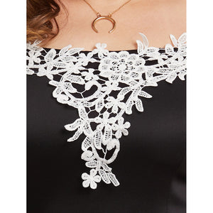 Off Shoulder Lace Applique Trim Dress - kats closet1