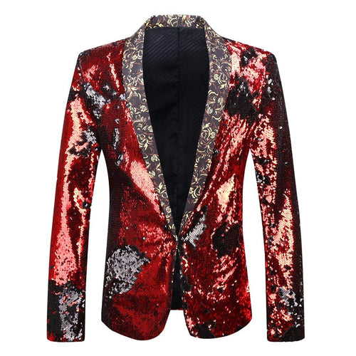PYJTRL Men Stylish Two Color Conversion Shiny Sequins Blazer Suit Jacket - kats closet1