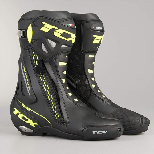 TCX RT- Race Track Sports Motorbike Boots Black And Yellow - kats closet1