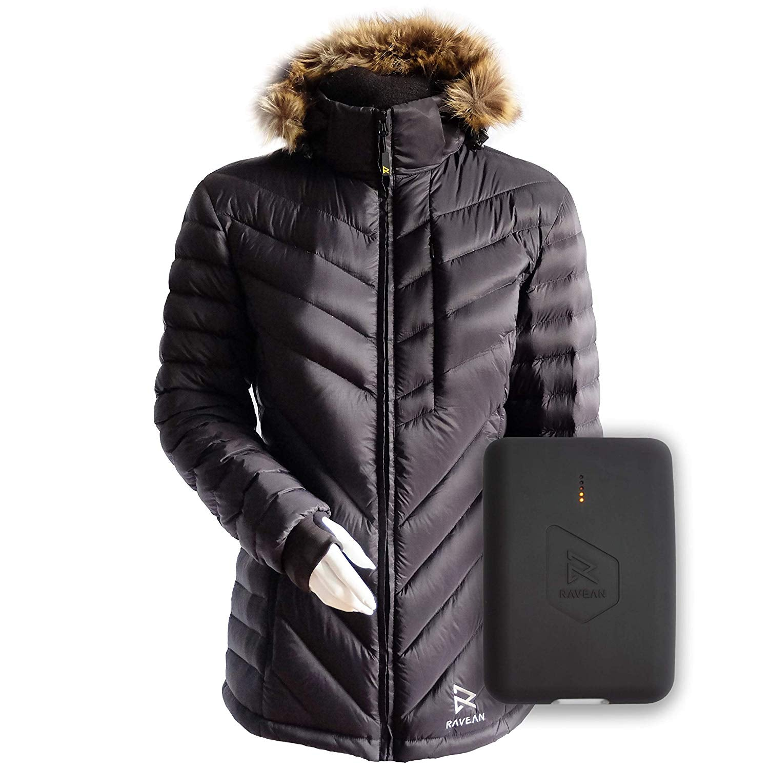 Women's Down Heated Jacket | Lightweight Water Resistant Jacket w/Mobile Charging Outlet Detachable Hood & Battery - kats closet1