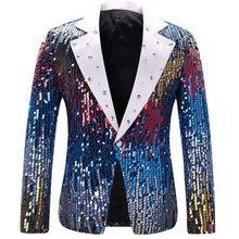Load image into Gallery viewer, Men's Slim Fit Suit Jacket Casual One Button Shiny Sequin Party Wedding Blazer - kats closet1