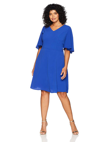 London Times Women's Plus Size Flutter Sleeve V Neck Fit and Flare Dress