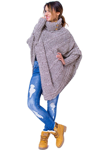 Women's Polo Neck Knit Poncho Cape Sweater with Sleeves - kats closet1