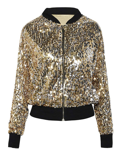 kayamiya Women Sequin Jacket Long Sleeve Sparkly Zipper Front Blazer Bomber Jacket - kats closet1