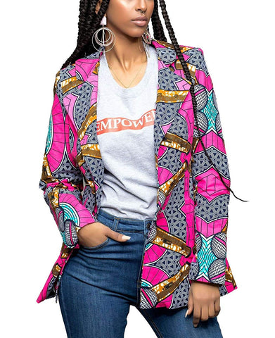 African Dashiki Print Lapel Long Sleeve Open Front Casual Jacket - kats closet1