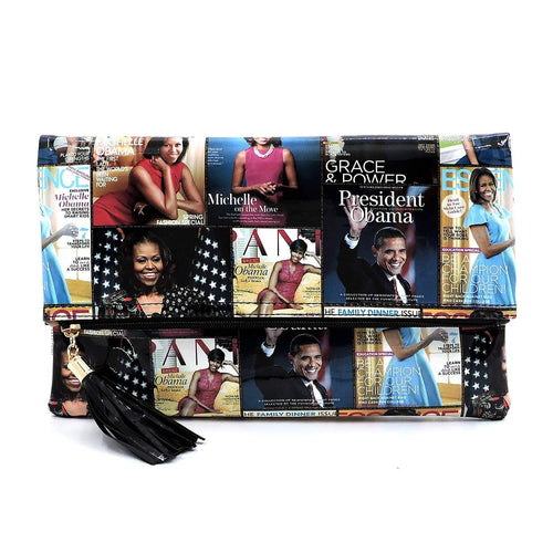 Glossy magazine cover collage clutch bag purses Michelle Obama bags with chain shoulder strap - kats closet1