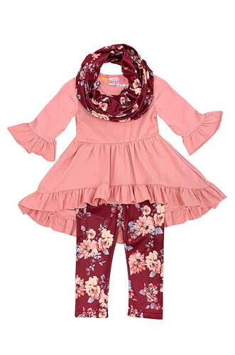 Girls Fall Winter Color Outfit Set With Scarf
