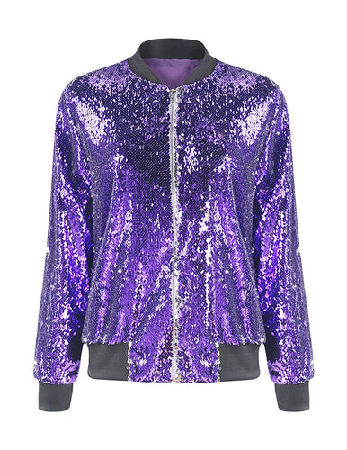 HAOYIHUI Women's Mermaid Sequin Lightweight Zipper Bomber Jacket - kats closet1