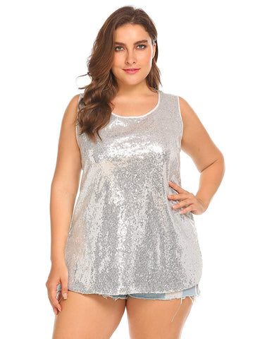 Women's Plus Size Glitter Sequin Sleeveless Tank Top - kats closet1