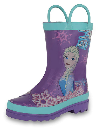 Disney Kids Girls' Frozen Anna and Elsa Character Printed Waterproof Easy-On Rubber Rain Boots - kats closet1