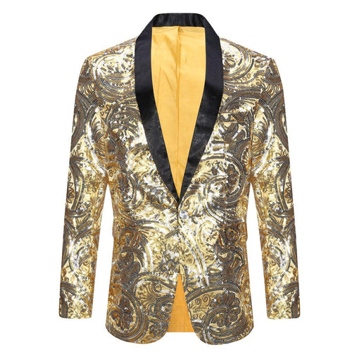 PYJTRL Men's Pink Gold Flower Pattern Wedding Groom Singer Sequins Suit Jacket - kats closet1