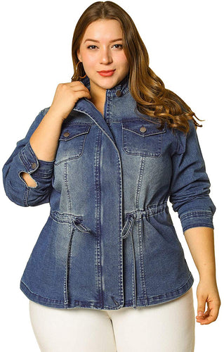 Plus Size Stand Collar Zip Closure Drawstring Denim Jacket
