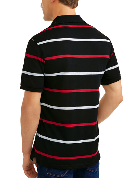 Men's Yarn Dyed Stripe Jersey Polo, Up To Size 5XL - kats closet1