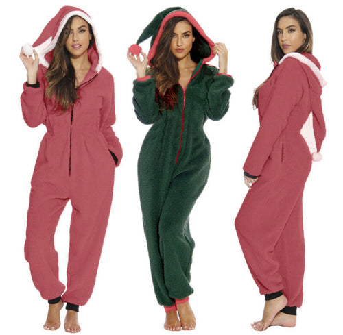 Long Sleeve Hooded Nightwear Jumpsuit Sleepwear