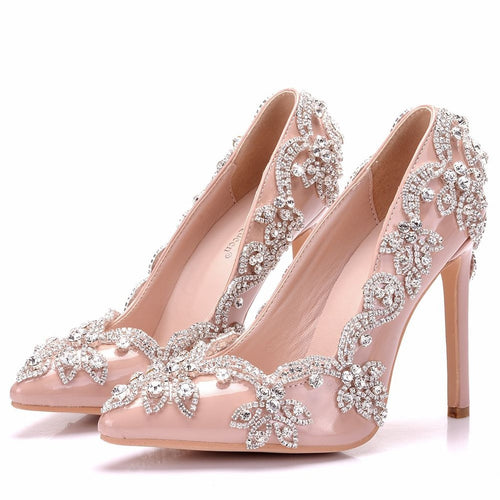 Nude pumps high heels wedding shoes rhinestone wedding heels sexy pointed toe high heels pumps shoes for women - kats closet1
