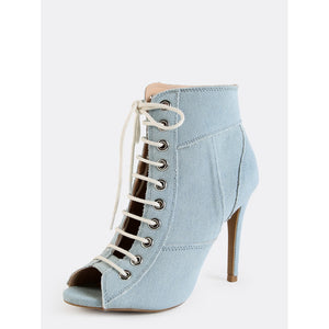 Patchwork Stiletto Ankle Booties LIGHT BLUE - kats closet1