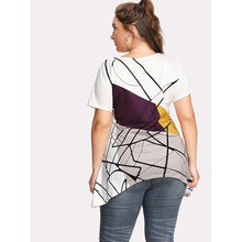 Load image into Gallery viewer, Abstract Geo Print Asymmetric Tee - kats closet1