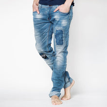 Load image into Gallery viewer, Mens Slim Fit Distressed With Patch Details Jeans in Light Blue - kats closet1