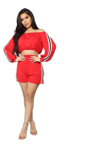 Two Piece Long Sleeve Crop Tops And Side Striped  Shorts Tracksuit
