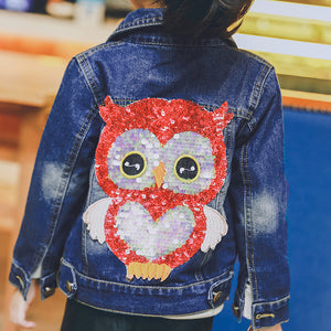 Girls Sequins Embroidered Design Denim Jacket - kats closet1