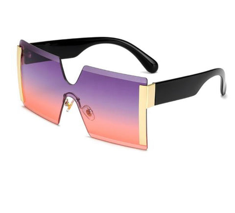 Oversized Square Rimless Designer Flat Top Sunglasses