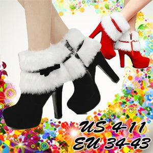 Womens Fashion Cute Red Ankle Boots Booties Party/Wedding/Christmas Shoes Plus Size 34-43