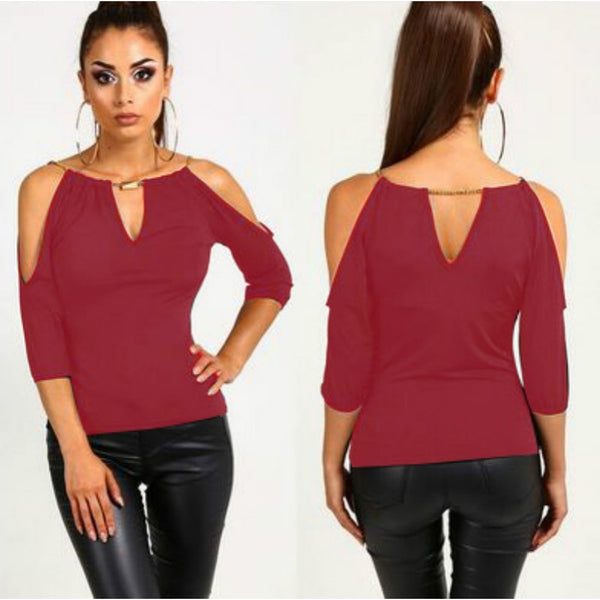 Women Fashion Off Shoulder 3/4 Sleeve Blouse Loose Casual T-Shirt Tops - kats closet1