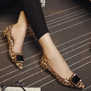 WEIQIAONA Woman flat shoes rivets with horsehair square buckle shallow low heel Pointed toe spring and summer fashion sexy shoes - kats closet1