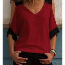 Load image into Gallery viewer, 9 Colors Cold Shoulder V-Neck Shirt