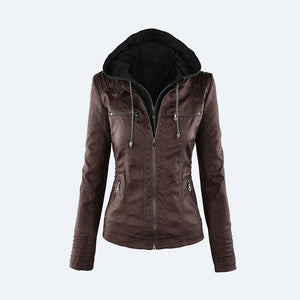 Hooded Faux Leather Jacket Women Autumn Winter Tops Long Sleeve Hat Detachable PU Leather Slim Coat Plus Size Z24 - kats closet1