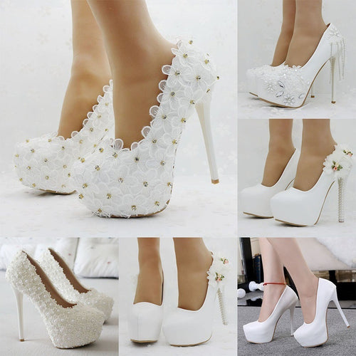 Women White Wedding Handmade Shoes Rhinestone Lace Flowers High Heels Platform Pump Shoes Bride Stiletto Shoes - kats closet1