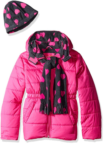 Pink Platinum Girls' Puffer Jacket with Heart Print Lining and Accessories - kats closet1