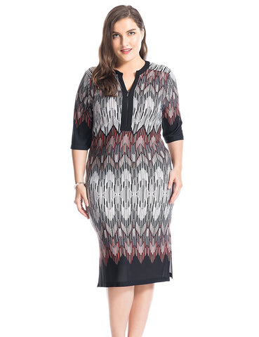 Chicwe Women's Plus Size Printed Zipped V Neck Border Dress - Knee Length Casual and Work Dress - kats closet1